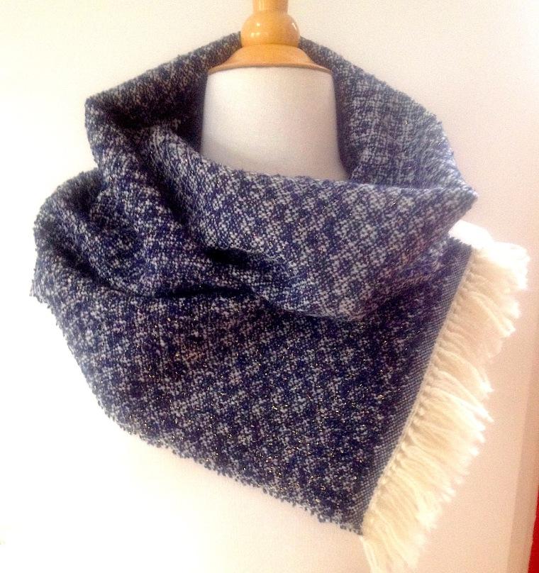 sjaal blauw lurex