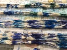 zijde verf in blauw en groen