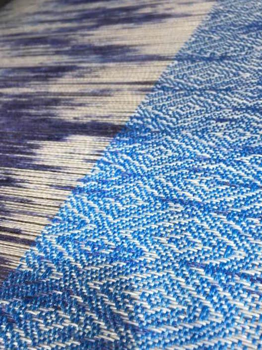 zijde voor stola blauw